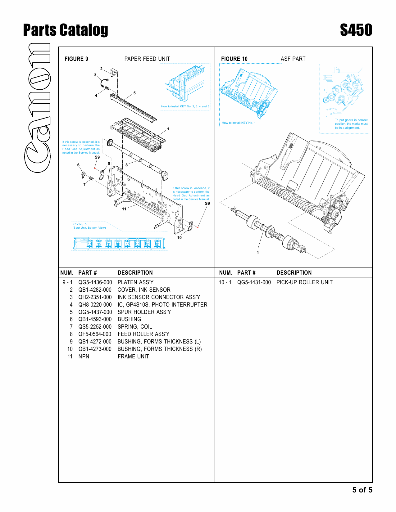 Canon PIXUS S450 Parts Catalog Manual-6